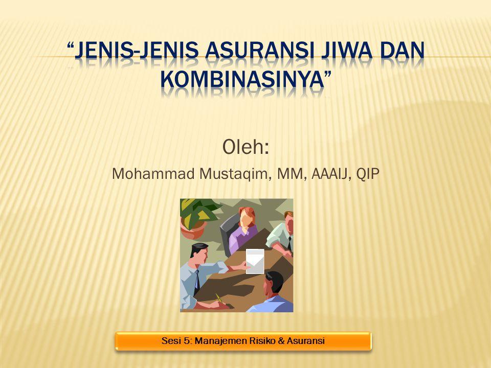 Oleh: Mohammad Mustaqim, MM, AAAIJ, QIP Sesi 5: Manajemen Risiko & Asuransi