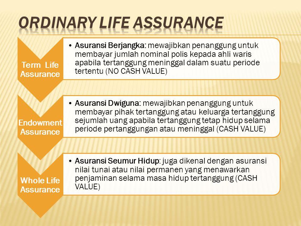 Term Life Assurance Asuransi Berjangka: mewajibkan penanggung untuk membayar jumlah nominal polis kepada ahli waris apabila tertanggung meninggal dala