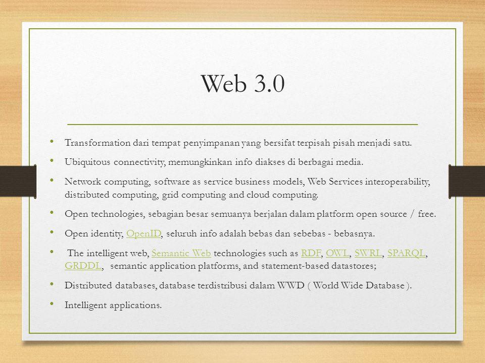 Web 3.0 Transformation dari tempat penyimpanan yang bersifat terpisah pisah menjadi satu. Ubiquitous connectivity, memungkinkan info diakses di berbag