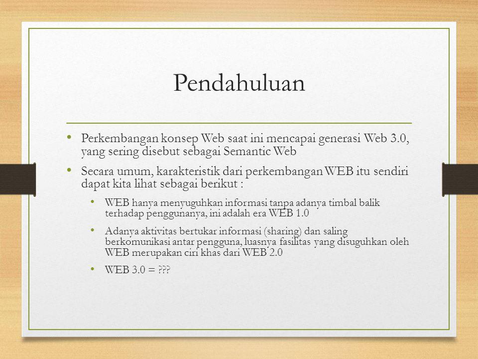 Pendahuluan Perkembangan konsep Web saat ini mencapai generasi Web 3.0, yang sering disebut sebagai Semantic Web Secara umum, karakteristik dari perke