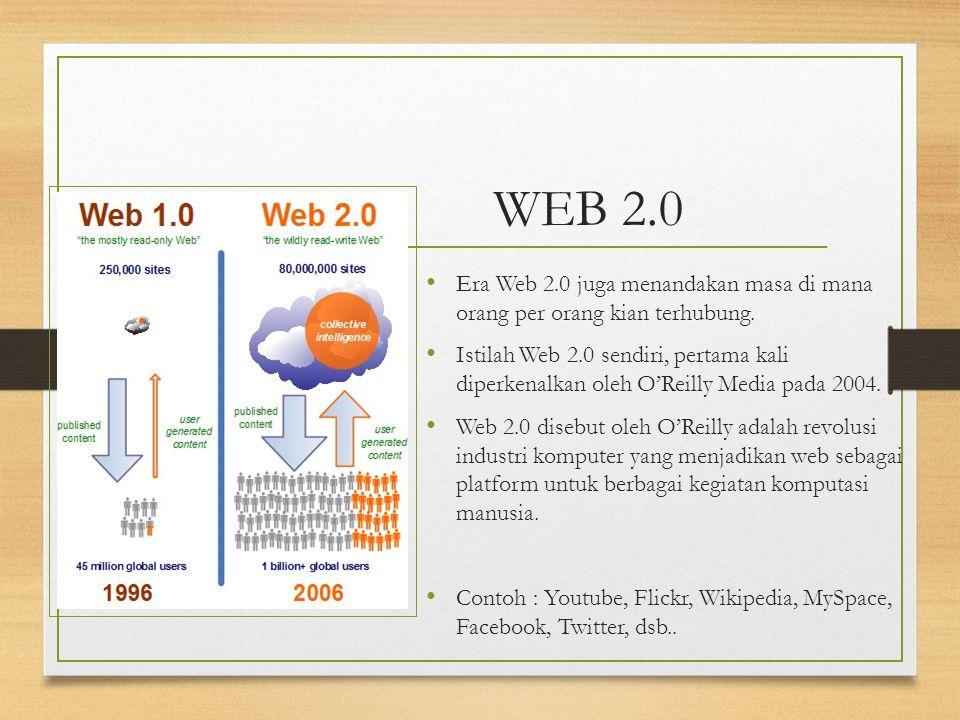 WEB 2.0 Era Web 2.0 juga menandakan masa di mana orang per orang kian terhubung. Istilah Web 2.0 sendiri, pertama kali diperkenalkan oleh O'Reilly Med