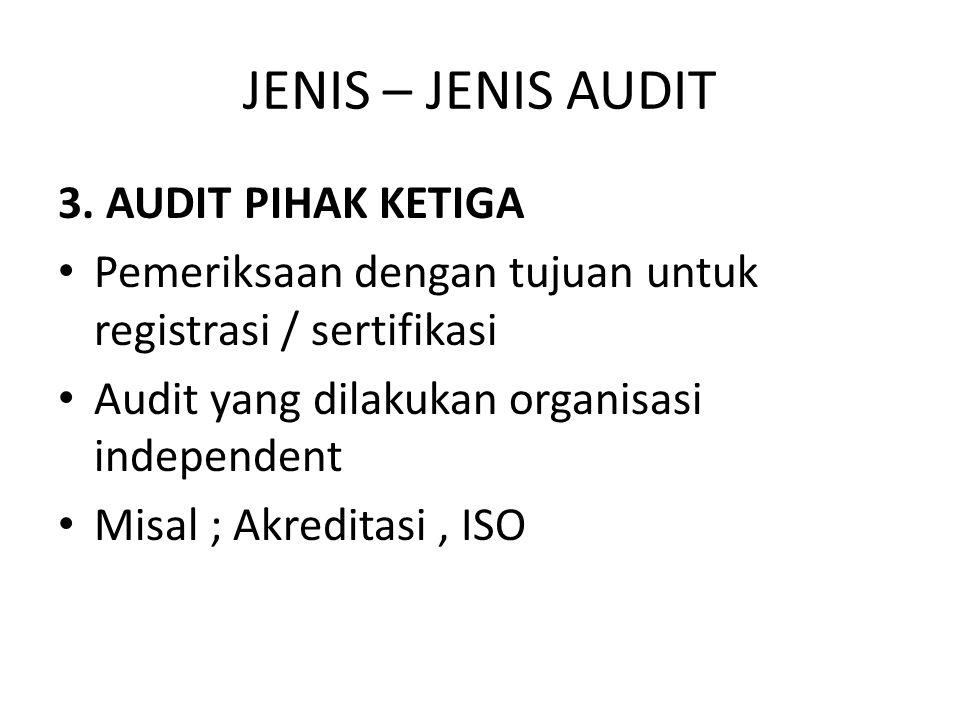 JENIS – JENIS AUDIT 3. AUDIT PIHAK KETIGA Pemeriksaan dengan tujuan untuk registrasi / sertifikasi Audit yang dilakukan organisasi independent Misal ;