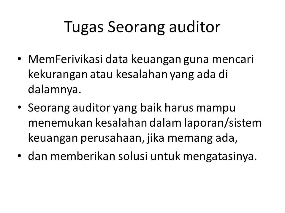 Tugas Seorang auditor MemFerivikasi data keuangan guna mencari kekurangan atau kesalahan yang ada di dalamnya. Seorang auditor yang baik harus mampu m