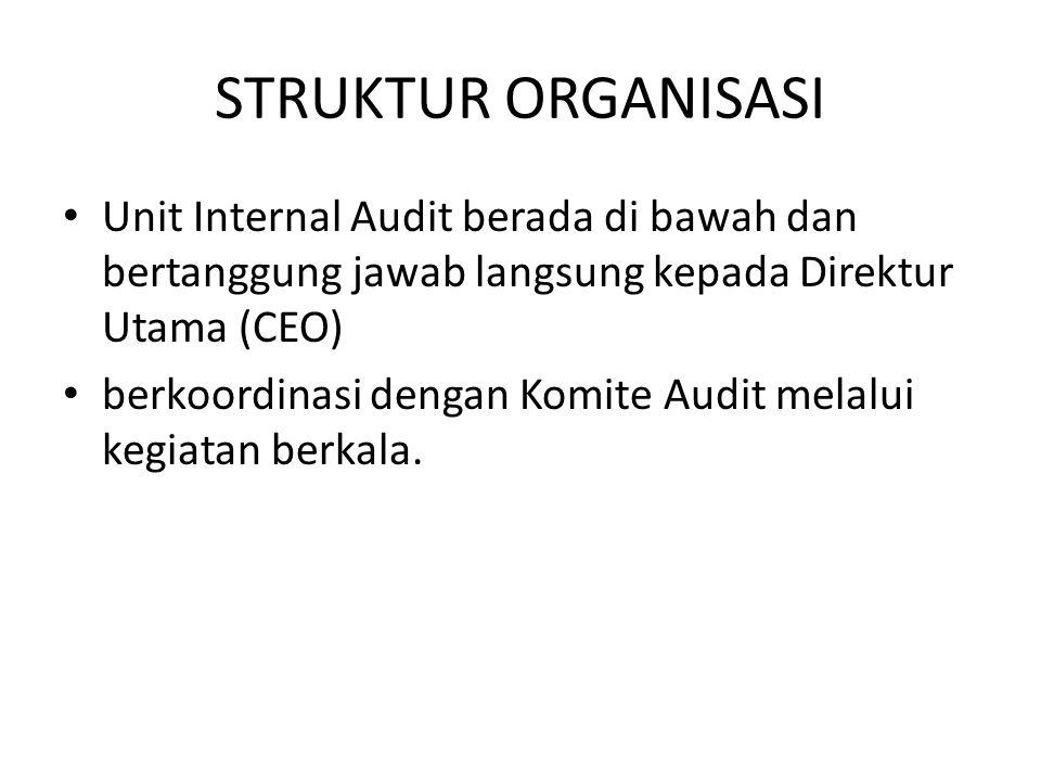 STRUKTUR ORGANISASI Unit Internal Audit berada di bawah dan bertanggung jawab langsung kepada Direktur Utama (CEO) berkoordinasi dengan Komite Audit m