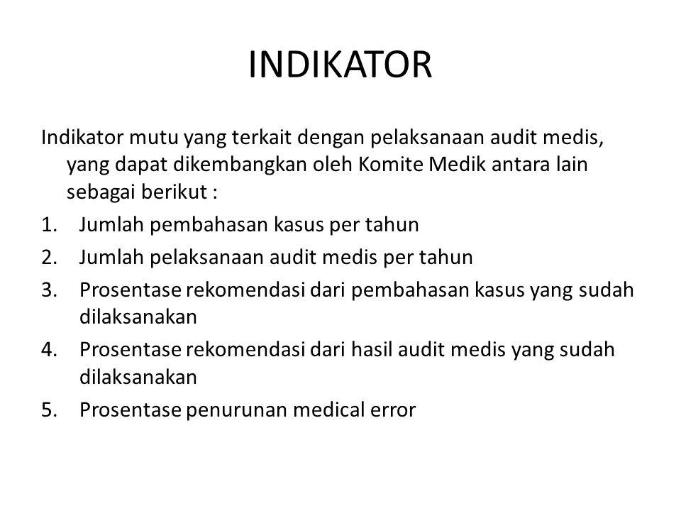 INDIKATOR Indikator mutu yang terkait dengan pelaksanaan audit medis, yang dapat dikembangkan oleh Komite Medik antara lain sebagai berikut : 1.Jumlah