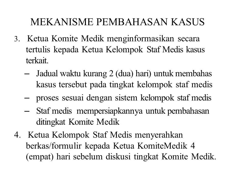 MEKANISME PEMBAHASAN KASUS 3. Ketua Komite Medik menginformasikan secara tertulis kepada Ketua Kelompok Staf Medis kasus terkait. – Jadual waktu kuran