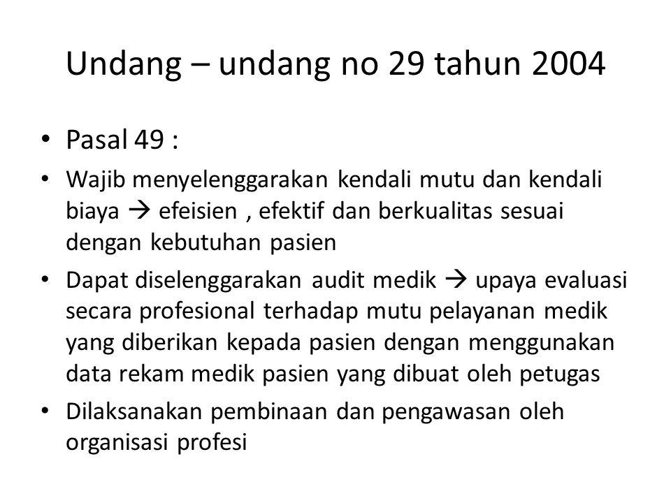 Undang – undang no 29 tahun 2004 Pasal 49 : Wajib menyelenggarakan kendali mutu dan kendali biaya  efeisien, efektif dan berkualitas sesuai dengan ke