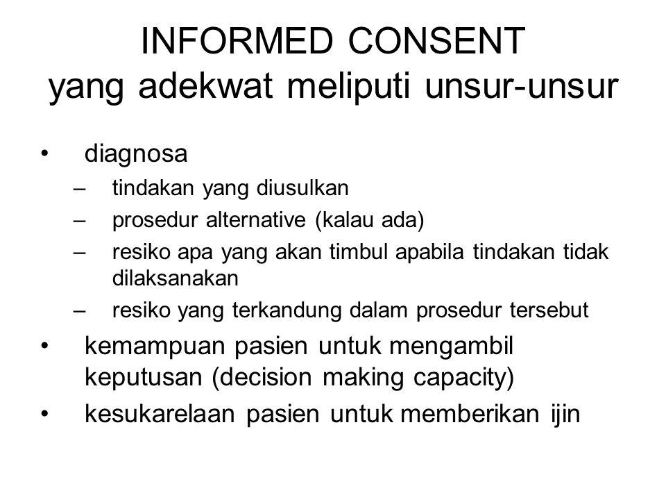 INFORMED CONSENT yang adekwat meliputi unsur-unsur diagnosa –tindakan yang diusulkan –prosedur alternative (kalau ada) –resiko apa yang akan timbul ap