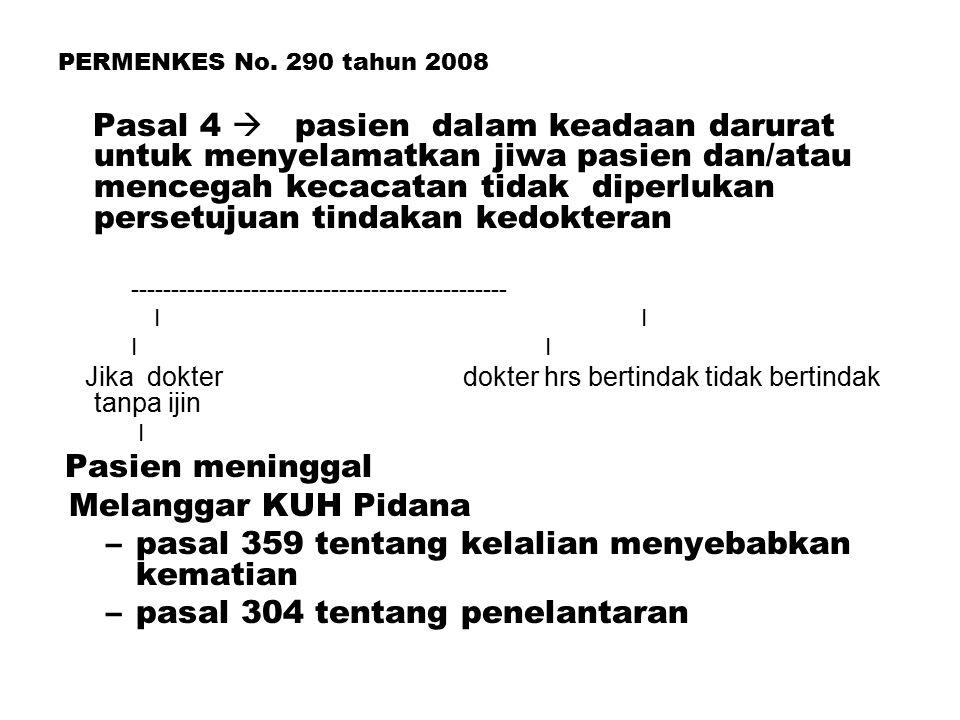 PERMENKES No. 290 tahun 2008 Pasal 4  pasien dalam keadaan darurat untuk menyelamatkan jiwa pasien dan/atau mencegah kecacatan tidak diperlukan perse