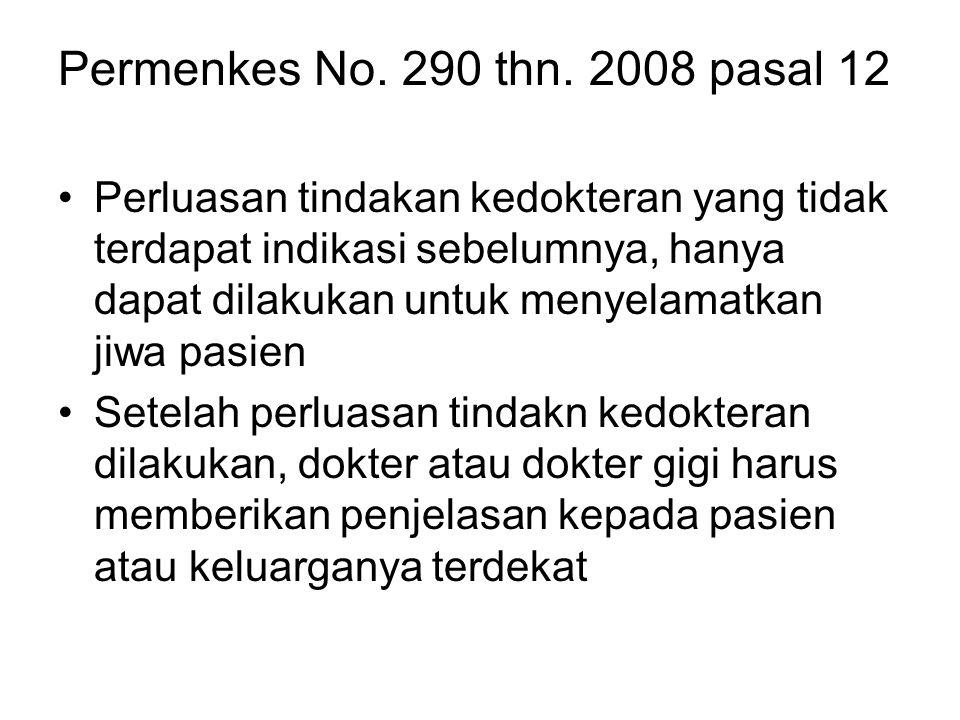 Permenkes No. 290 thn. 2008 pasal 12 Perluasan tindakan kedokteran yang tidak terdapat indikasi sebelumnya, hanya dapat dilakukan untuk menyelamatkan