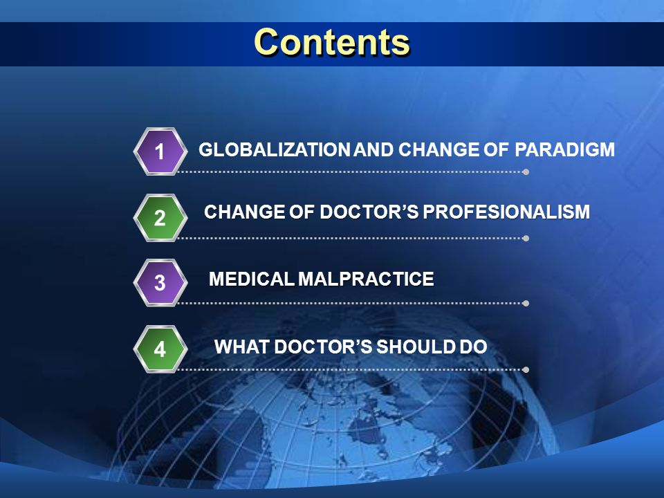 Contents GLOBALIZATION AND CHANGE OF PARADIGM 1 CHANGE OF DOCTOR'S PROFESIONALISM 2 MEDICAL MALPRACTICE 3 WHAT DOCTOR'S SHOULD DO 4