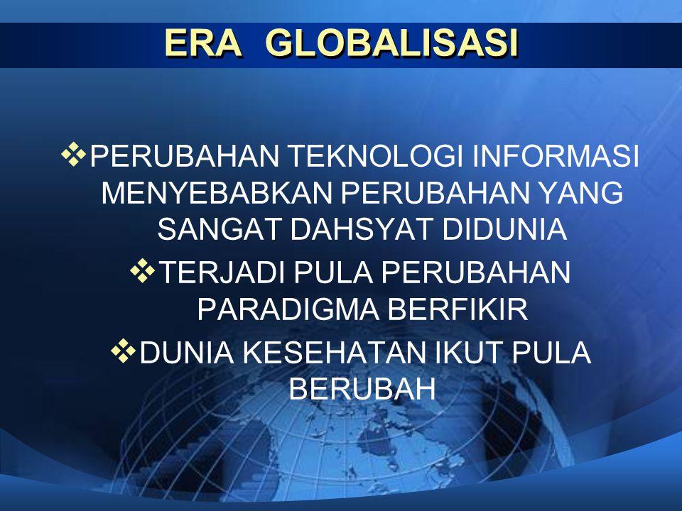 ERA GLOBALISASI  PERUBAHAN TEKNOLOGI INFORMASI MENYEBABKAN PERUBAHAN YANG SANGAT DAHSYAT DIDUNIA  TERJADI PULA PERUBAHAN PARADIGMA BERFIKIR  DUNIA