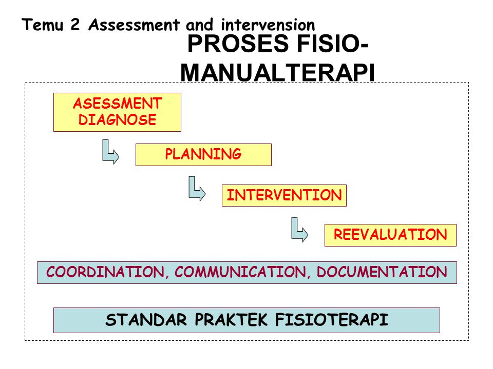 ASESSMENT DIAGNOSE PLANNING INTERVENTION REEVALUATION COORDINATION, COMMUNICATION, DOCUMENTATION STANDAR PRAKTEK FISIOTERAPI PROSES FISIO- MANUALTERAP