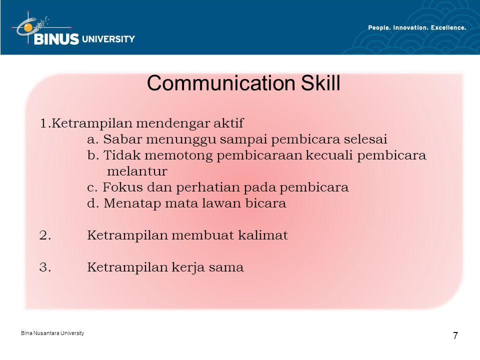 Bina Nusantara University 8 1. Agresif 2. Submisif 3. Pasif-agresif 4. Asertif