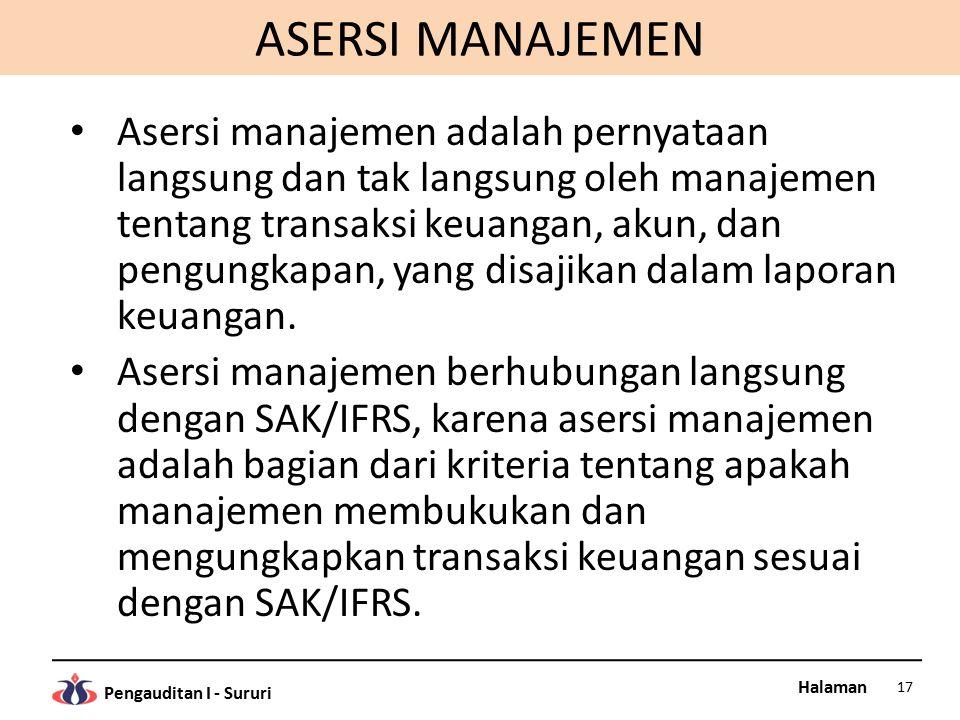 Halaman Pengauditan I - Sururi ASERSI MANAJEMEN Asersi manajemen adalah pernyataan langsung dan tak langsung oleh manajemen tentang transaksi keuangan