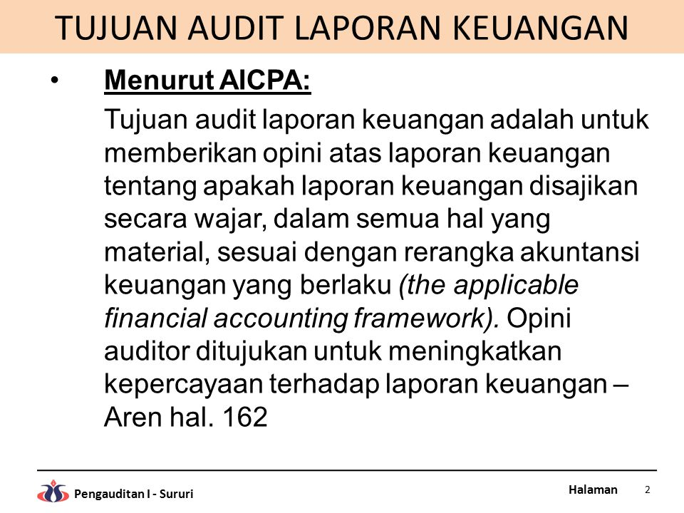 Halaman Pengauditan I - Sururi TUJUAN AUDIT LAPORAN KEUANGAN Menurut AICPA: Tujuan audit laporan keuangan adalah untuk memberikan opini atas laporan k