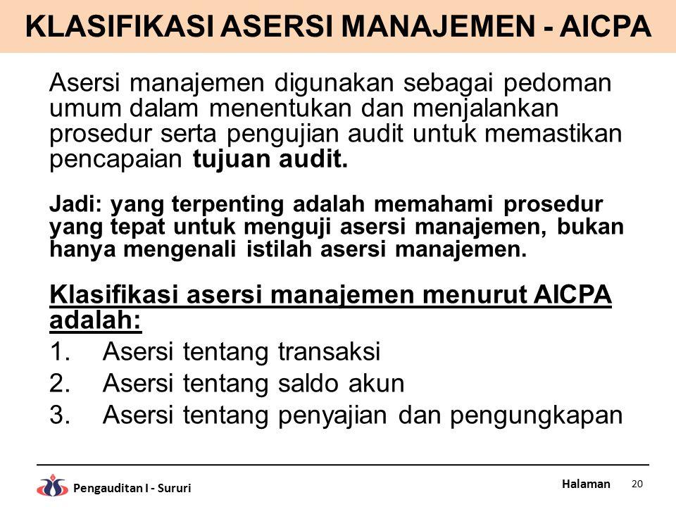 Halaman Pengauditan I - Sururi KLASIFIKASI ASERSI MANAJEMEN - AICPA Asersi manajemen digunakan sebagai pedoman umum dalam menentukan dan menjalankan p