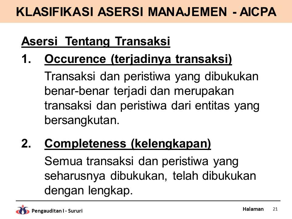 Halaman Pengauditan I - Sururi KLASIFIKASI ASERSI MANAJEMEN - AICPA Asersi Tentang Transaksi 1.Occurence (terjadinya transaksi) Transaksi dan peristiw