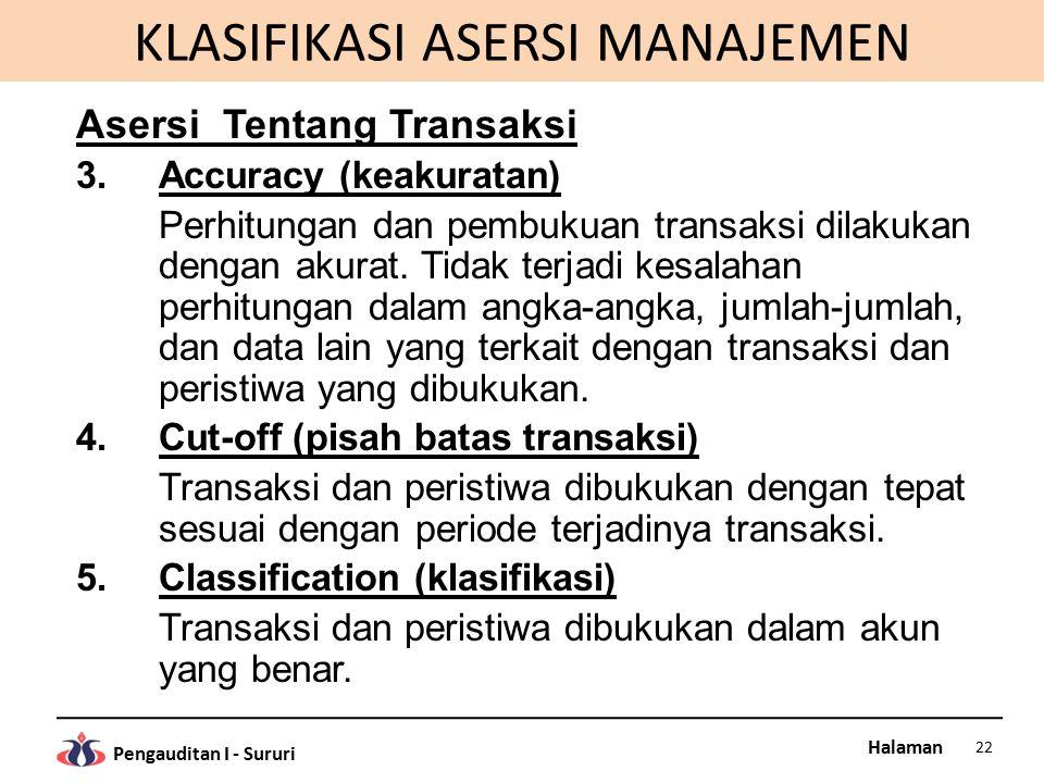 Halaman Pengauditan I - Sururi KLASIFIKASI ASERSI MANAJEMEN Asersi Tentang Transaksi 3.Accuracy (keakuratan) Perhitungan dan pembukuan transaksi dilak