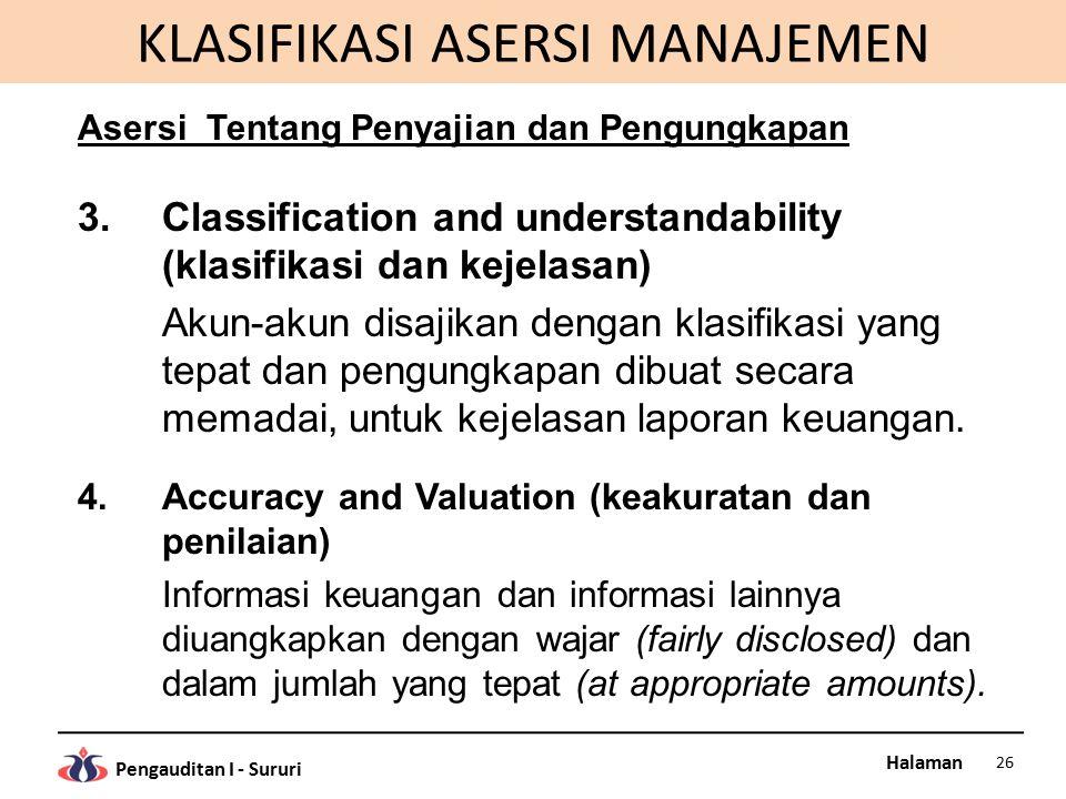 Halaman Pengauditan I - Sururi KLASIFIKASI ASERSI MANAJEMEN Asersi Tentang Penyajian dan Pengungkapan 3.Classification and understandability (klasifik