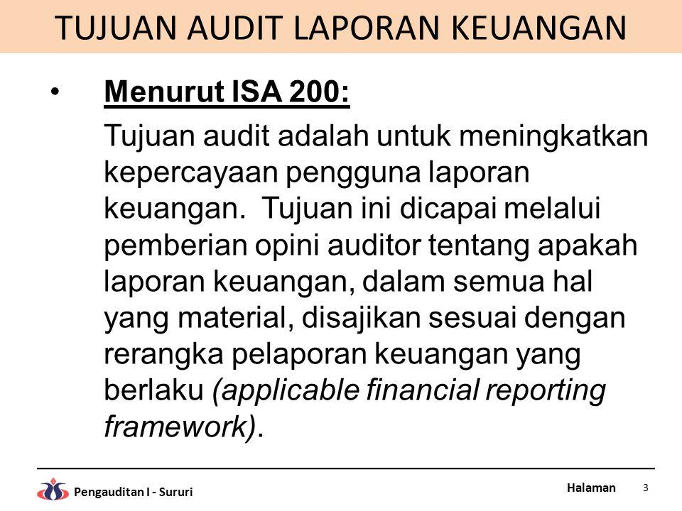Halaman Pengauditan I - Sururi TUJUAN AUDIT LAPORAN KEUANGAN Menurut ISA 200: Tujuan audit adalah untuk meningkatkan kepercayaan pengguna laporan keua