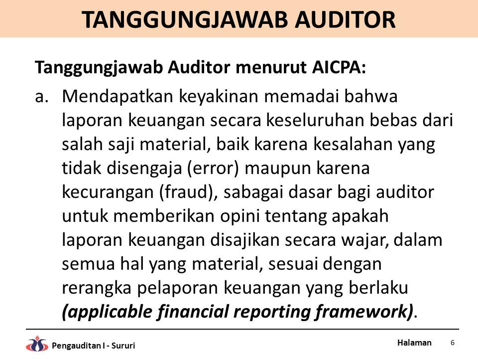 Halaman Pengauditan I - Sururi TANGGUNGJAWAB AUDITOR Tanggungjawab Auditor menurut AICPA: a.Mendapatkan keyakinan memadai bahwa laporan keuangan secar