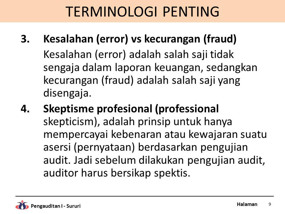 Halaman Pengauditan I - Sururi TERMINOLOGI PENTING 3.Kesalahan (error) vs kecurangan (fraud) Kesalahan (error) adalah salah saji tidak sengaja dalam l