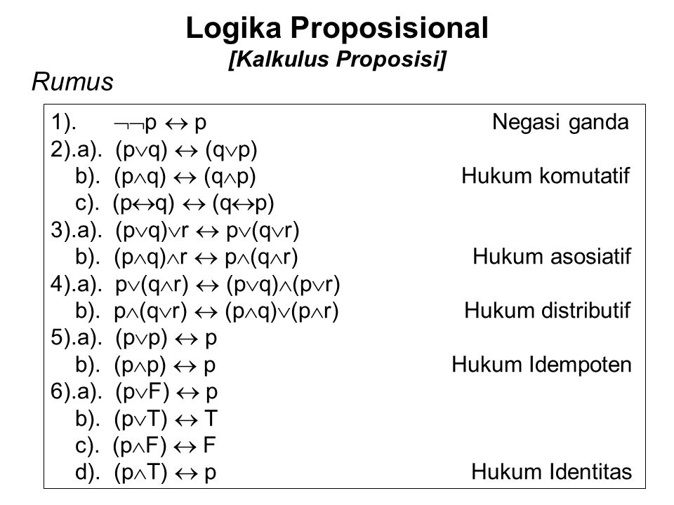 Logika Proposisional [Kalkulus Proposisi] Rumus 1).  p  p Negasi ganda 2).a). (p  q)  (q  p) b). (p  q)  (q  p) Hukum komutatif c). (p  q) 