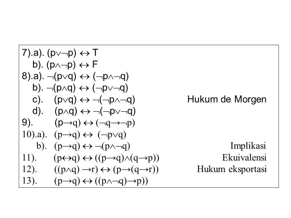 7).a). (p  p)  T b). (p  p)  F 8).a).  (p  q)  (  p  q) b).  (p  q)  (  p  q) c). (p  q)   (  p  q) Hukum de Morgen d). (p  q