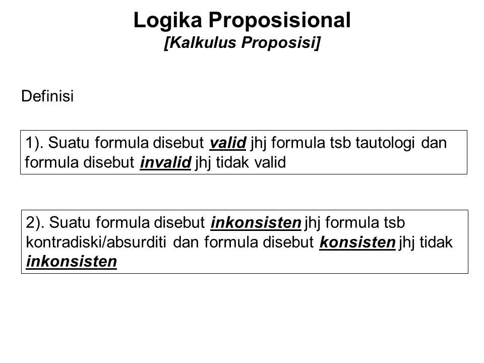 Logika Proposisional [Kalkulus Proposisi] Definisi 1). Suatu formula disebut valid jhj formula tsb tautologi dan formula disebut invalid jhj tidak val