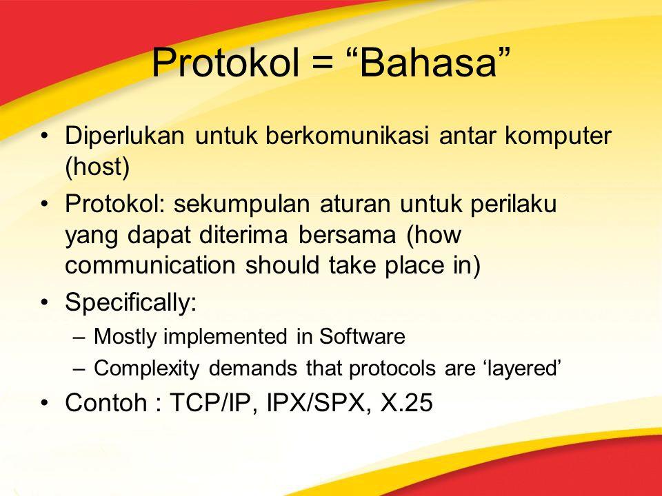 """Protokol = """"Bahasa"""" Diperlukan untuk berkomunikasi antar komputer (host) Protokol: sekumpulan aturan untuk perilaku yang dapat diterima bersama (how c"""