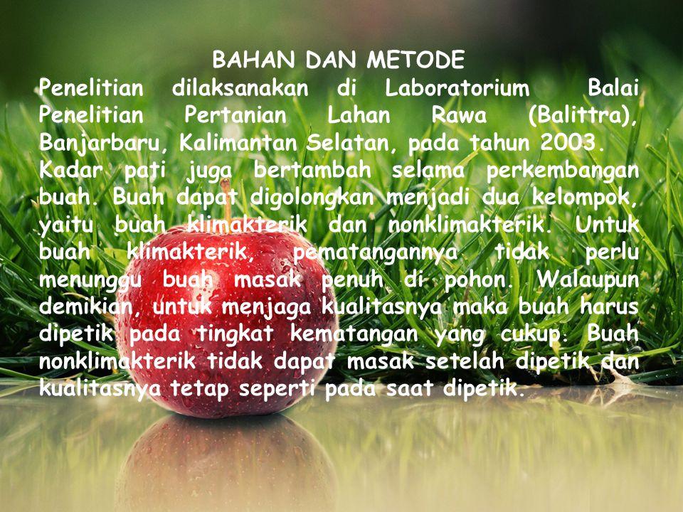 BAHAN DAN METODE Penelitian dilaksanakan di Laboratorium Balai Penelitian Pertanian Lahan Rawa (Balittra), Banjarbaru, Kalimantan Selatan, pada tahun 2003.