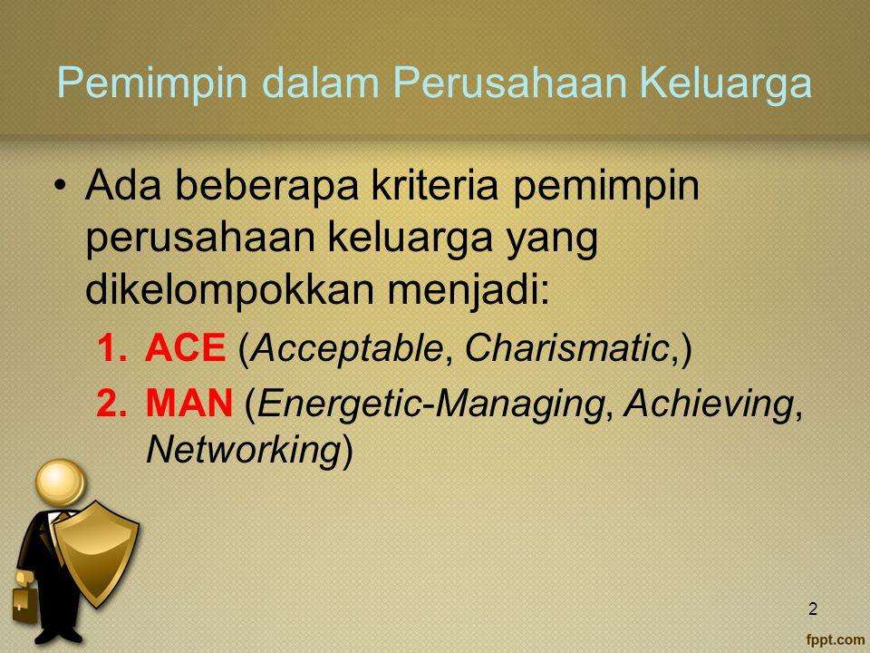 Pemimpin dalam Perusahaan Keluarga Ada beberapa kriteria pemimpin perusahaan keluarga yang dikelompokkan menjadi: 1.ACE (Acceptable, Charismatic,) 2.MAN (Energetic-Managing, Achieving, Networking) 2