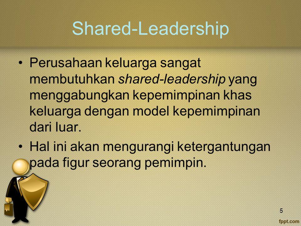 Shared-Leadership Perusahaan keluarga sangat membutuhkan shared-leadership yang menggabungkan kepemimpinan khas keluarga dengan model kepemimpinan dari luar.