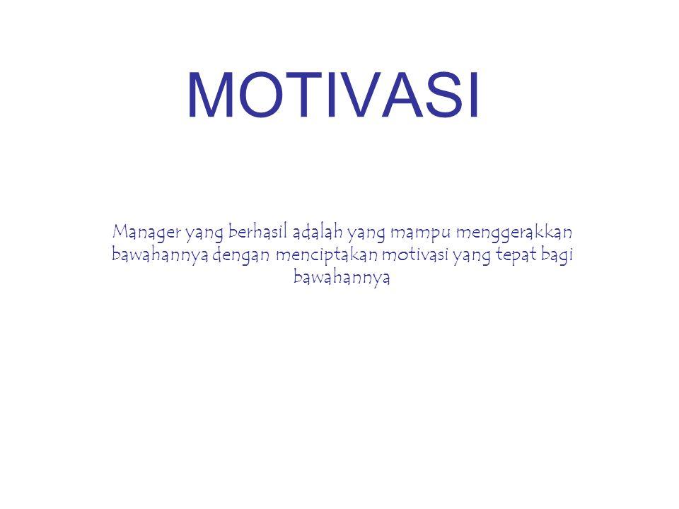 MOTIVASI Manager yang berhasil adalah yang mampu menggerakkan bawahannya dengan menciptakan motivasi yang tepat bagi bawahannya