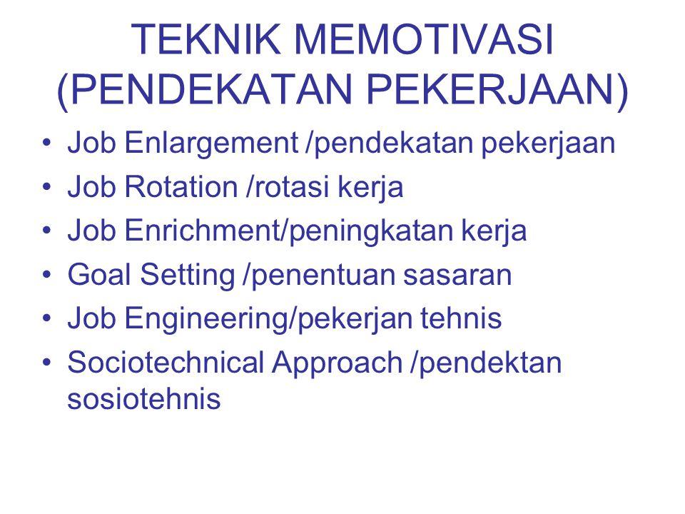 TEKNIK MEMOTIVASI (PENDEKATAN PEKERJAAN) Job Enlargement /pendekatan pekerjaan Job Rotation /rotasi kerja Job Enrichment/peningkatan kerja Goal Settin