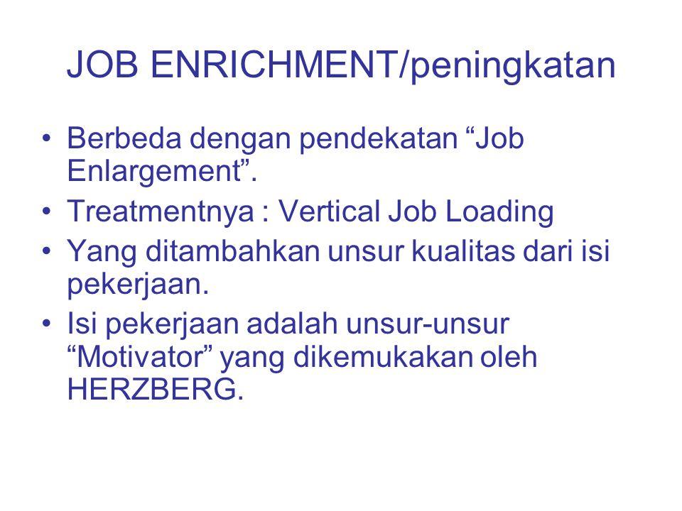 """JOB ENRICHMENT/peningkatan Berbeda dengan pendekatan """"Job Enlargement"""". Treatmentnya : Vertical Job Loading Yang ditambahkan unsur kualitas dari isi p"""