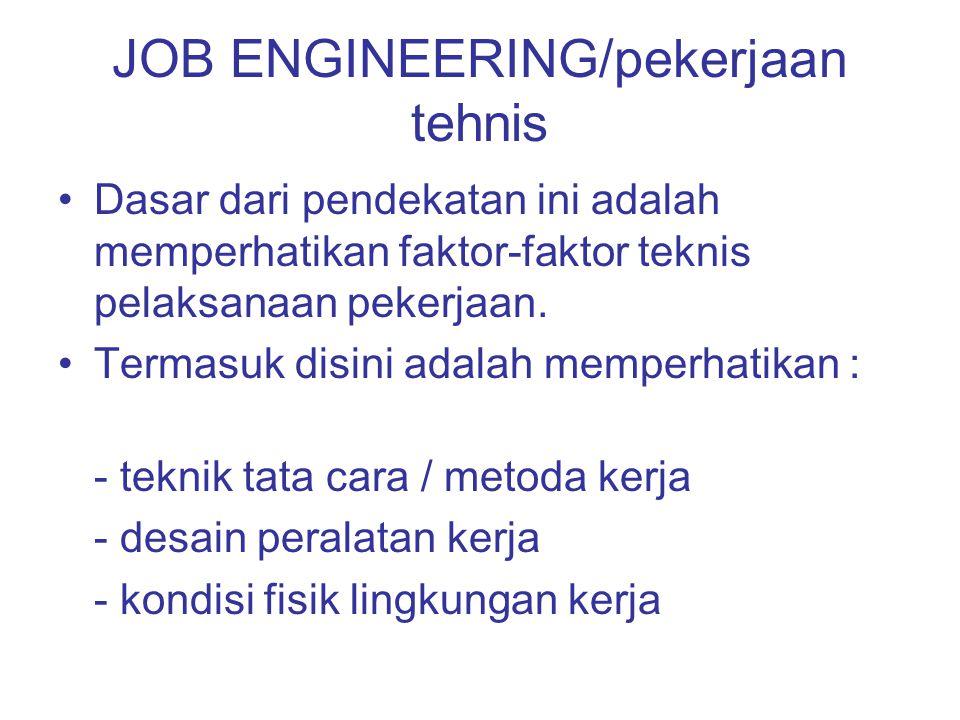 JOB ENGINEERING/pekerjaan tehnis Dasar dari pendekatan ini adalah memperhatikan faktor-faktor teknis pelaksanaan pekerjaan. Termasuk disini adalah mem