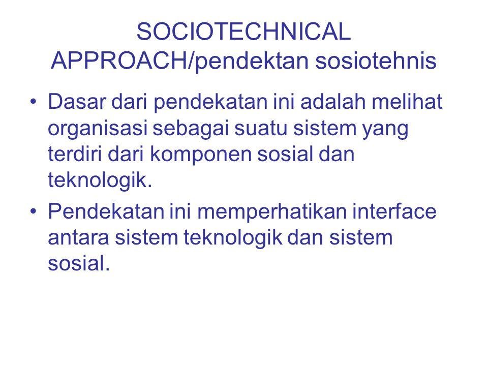SOCIOTECHNICAL APPROACH/pendektan sosiotehnis Dasar dari pendekatan ini adalah melihat organisasi sebagai suatu sistem yang terdiri dari komponen sosi