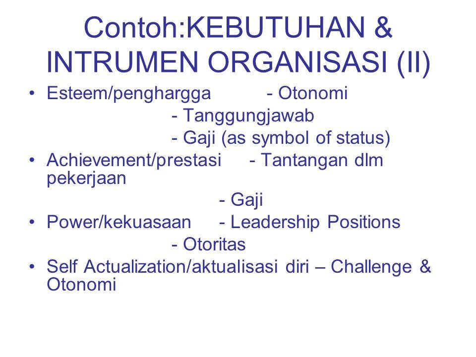 Contoh:KEBUTUHAN & INTRUMEN ORGANISASI (II) Esteem/penghargga- Otonomi - Tanggungjawab - Gaji (as symbol of status) Achievement/prestasi - Tantangan d