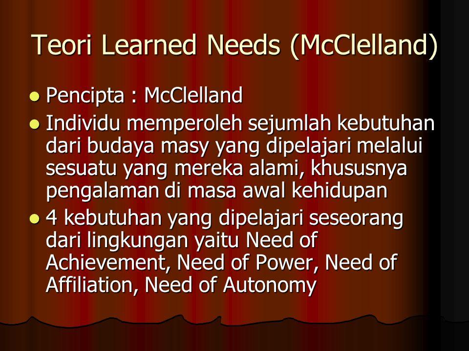 Teori Learned Needs (McClelland) Pencipta : McClelland Individu memperoleh sejumlah kebutuhan dari budaya masy yang dipelajari melalui sesuatu yang me