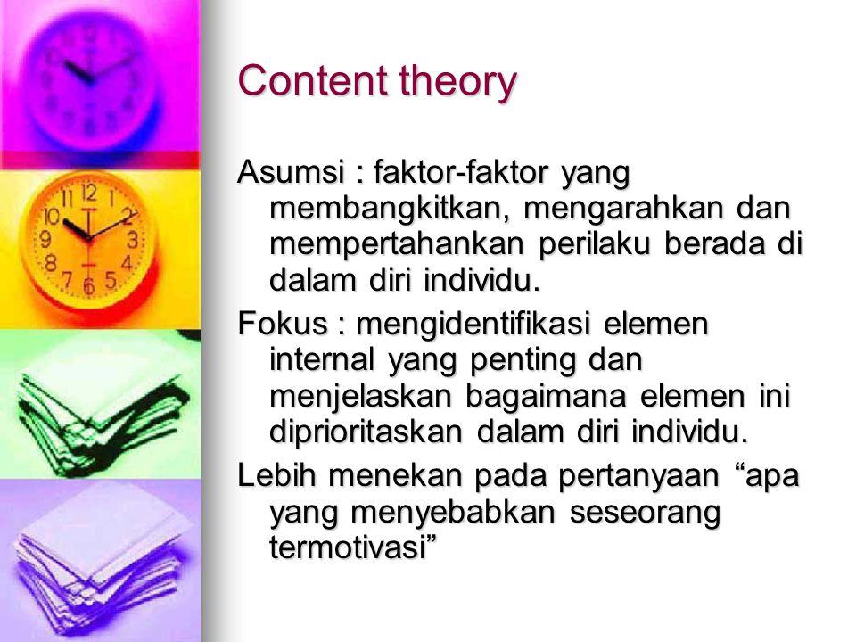 Content theory Asumsi : faktor-faktor yang membangkitkan, mengarahkan dan mempertahankan perilaku berada di dalam diri individu. Fokus : mengidentifik