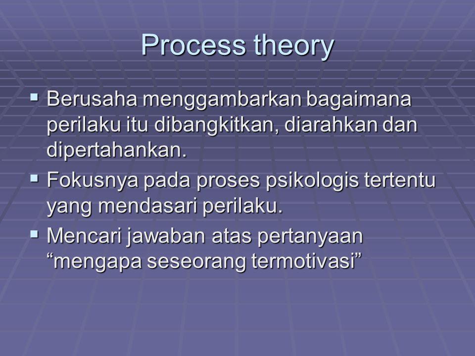 Process theory BBBBerusaha menggambarkan bagaimana perilaku itu dibangkitkan, diarahkan dan dipertahankan. FFFFokusnya pada proses psikologis