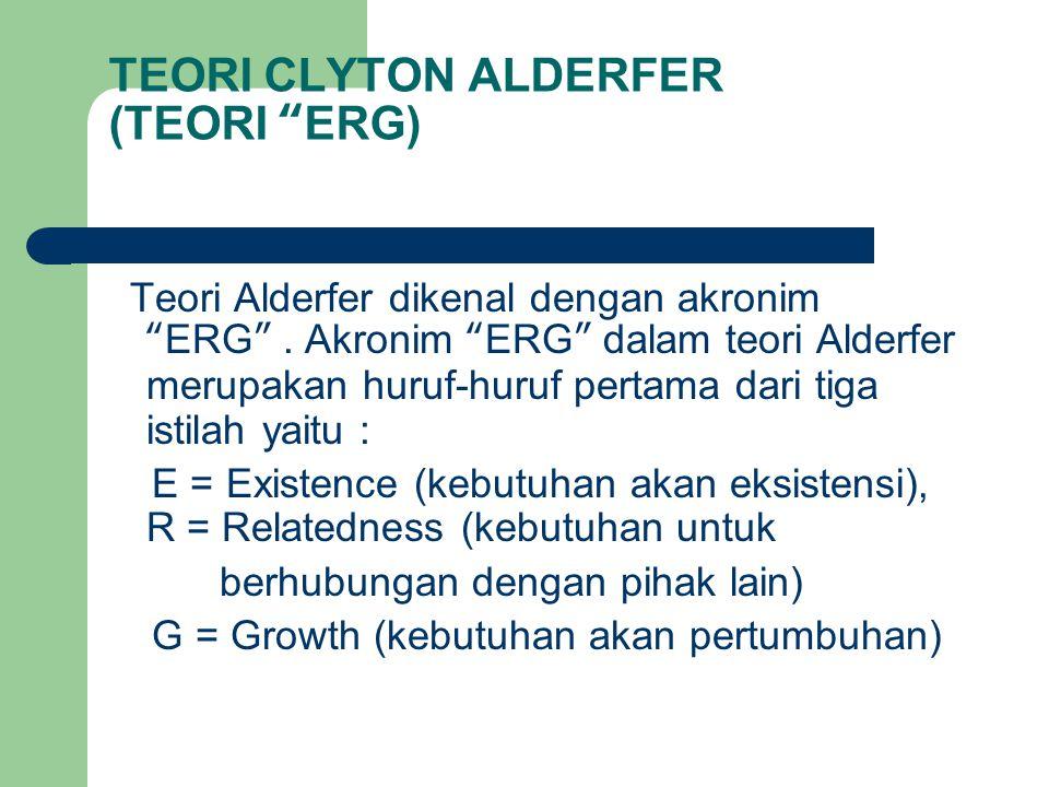 "TEORI CLYTON ALDERFER (TEORI ""ERG) Teori Alderfer dikenal dengan akronim ""ERG"". Akronim ""ERG"" dalam teori Alderfer merupakan huruf-huruf pertama dari"