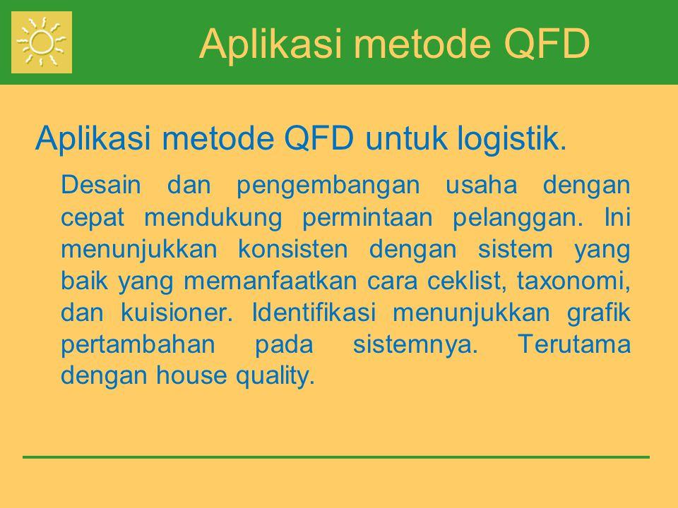 Aplikasi metode QFD Aplikasi metode QFD untuk logistik. Desain dan pengembangan usaha dengan cepat mendukung permintaan pelanggan. Ini menunjukkan kon