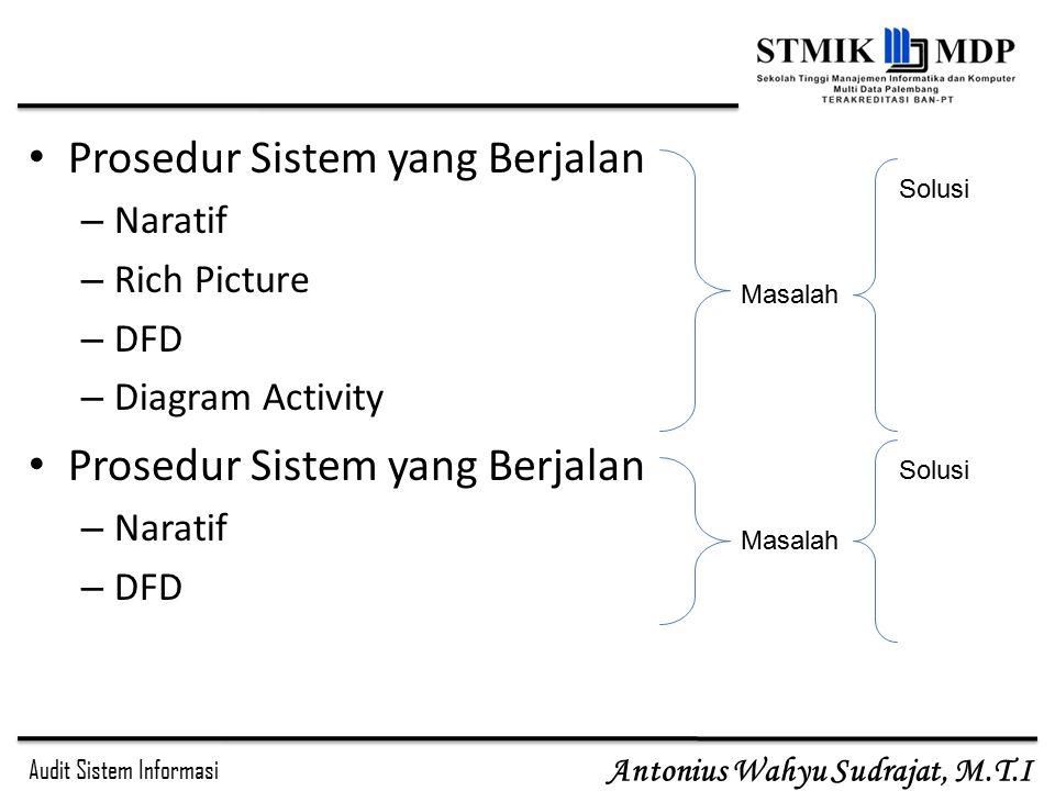 Audit Sistem Informasi Antonius Wahyu Sudrajat, M.T.I Prosedur Sistem yang Berjalan – Naratif – Rich Picture – DFD – Diagram Activity Prosedur Sistem