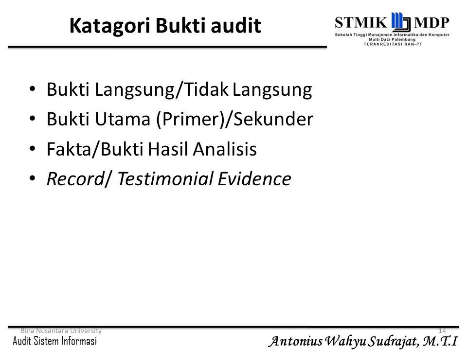 Audit Sistem Informasi Antonius Wahyu Sudrajat, M.T.I Bina Nusantara University14 Katagori Bukti audit Bukti Langsung/Tidak Langsung Bukti Utama (Prim
