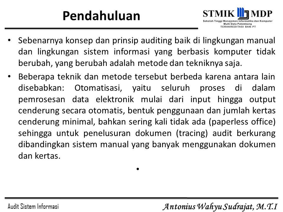Audit Sistem Informasi Antonius Wahyu Sudrajat, M.T.I Pendahuluan Sebenarnya konsep dan prinsip auditing baik di lingkungan manual dan lingkungan sist