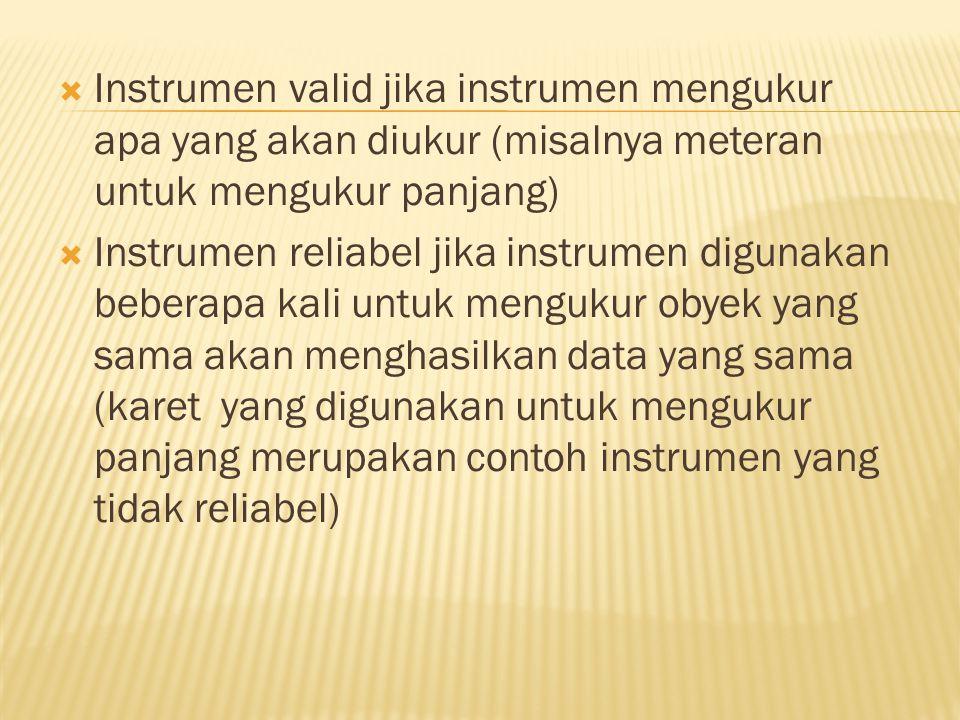  Instrumen valid jika instrumen mengukur apa yang akan diukur (misalnya meteran untuk mengukur panjang)  Instrumen reliabel jika instrumen digunakan beberapa kali untuk mengukur obyek yang sama akan menghasilkan data yang sama (karet yang digunakan untuk mengukur panjang merupakan contoh instrumen yang tidak reliabel)