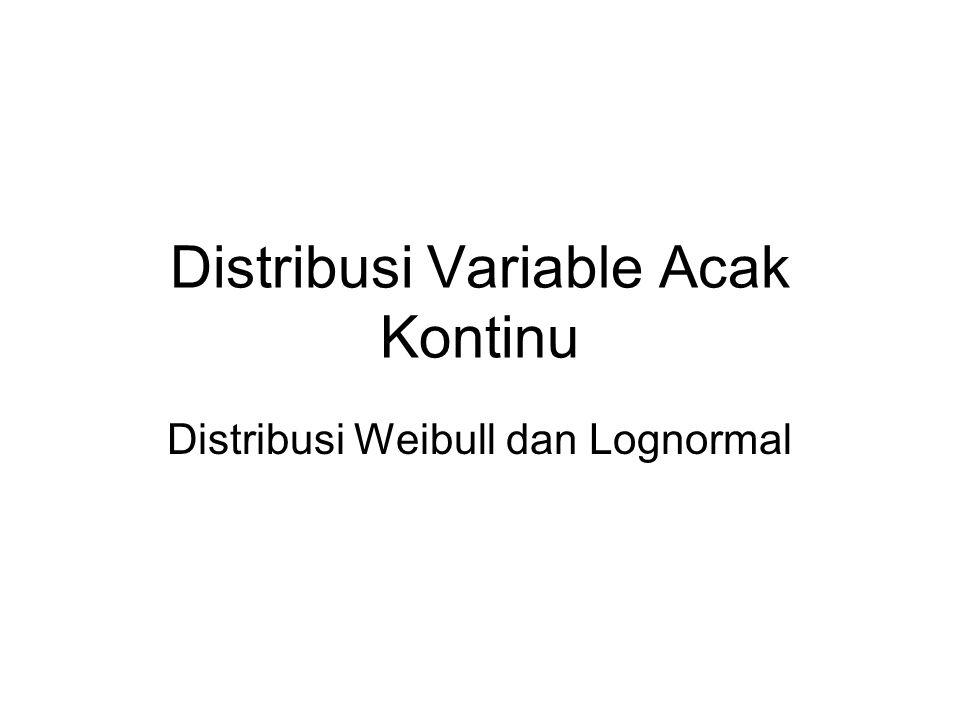 Distribusi Weibull Distribusi Weibull sering digunakan untuk memodelkan waktu kegagalan dari banyak sistem fisik.